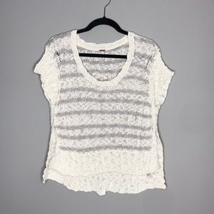 Free People Slouchy Stripe Rib Knit Sweater tee XS